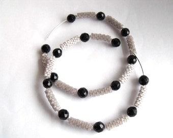 Black onyx and grey hoop earrings | large hoop earrings | woven bead grey jewelry | glass beaded hoop earrings
