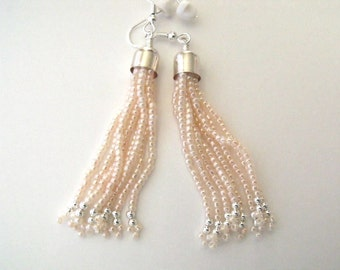 Pastel pink dangle earrings beadwork jewelry, seed bead earrings, pink beaded jewelry