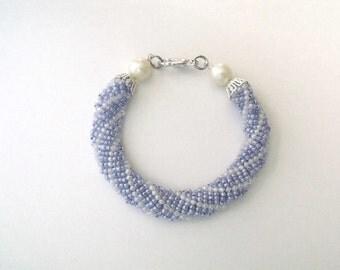 White and blue bracelet, woven beaded glass bracelet, blue beaded jewelry,