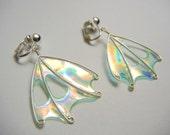 CLIP-ON Fairy Wing Earrings, Faerie Wing Earrings, Handmade, OOAK, Fairy Wings, Fairie Wings, Elemental Light