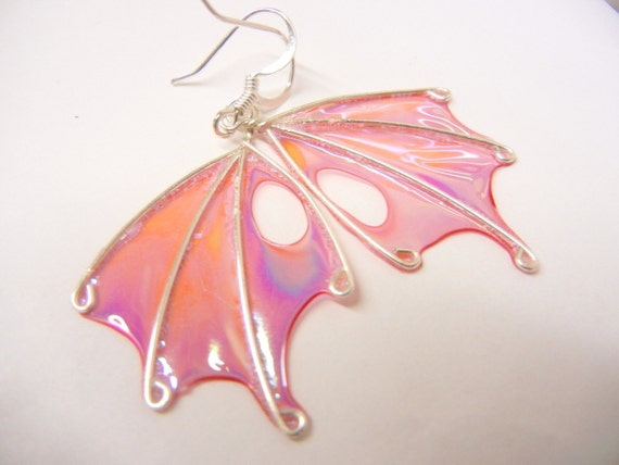 Naturally Shed Fairy Wing Earrings, Afterglow, fairy jewelry, pink earrings, Original by The Silver Branch