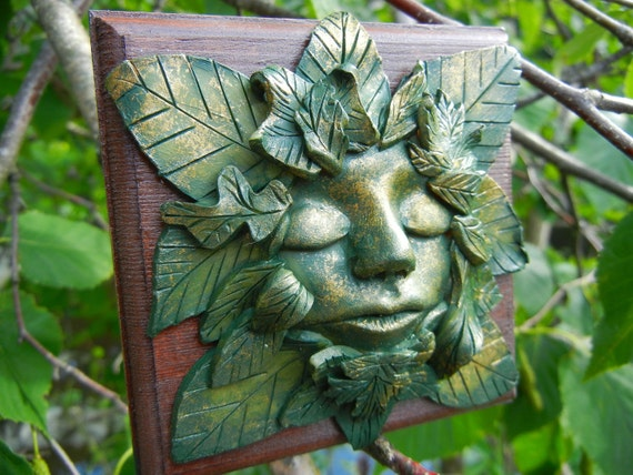 "Green Man Jewelry Box, Celtic Knotwork, Green Girl Box, Celtic Jewelry Box, ""Contemplation"""