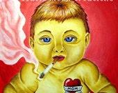 Smoking Baby Original Painting