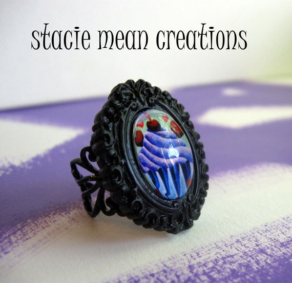 Gothic Ring featuring Cupcake art