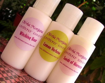 YOU CHOOSE 3 Hair Conditioner LEAVE In. Scented. Avocado, Castor Oil, Glycerin, Wheat Protein. More than 250 Fragrances. Olivia Morgana.