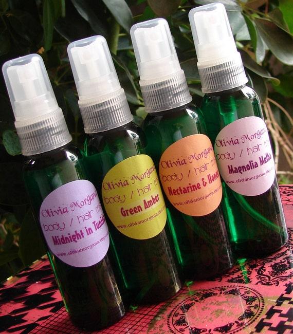 BEACH HOUSE Body Hair MIST. Moisturizing Spray. Scented, fragrant. Vegan. Paraben and alcohol free. Fragrant. Olivia Morgana.