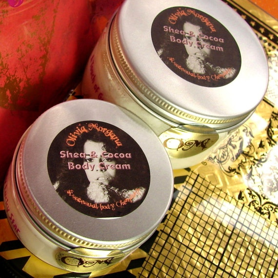 FROSTED PINK CUPCAKE Shea and Cocoa Body Cream. Shea and Cocoa Butters with Vitamins and Japanese Green Tea. Paraben free. Olivia Morgana.