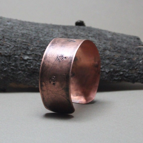Copper Cuff Bracelet Ancient Imaginary Celestial Map Mens or Womens