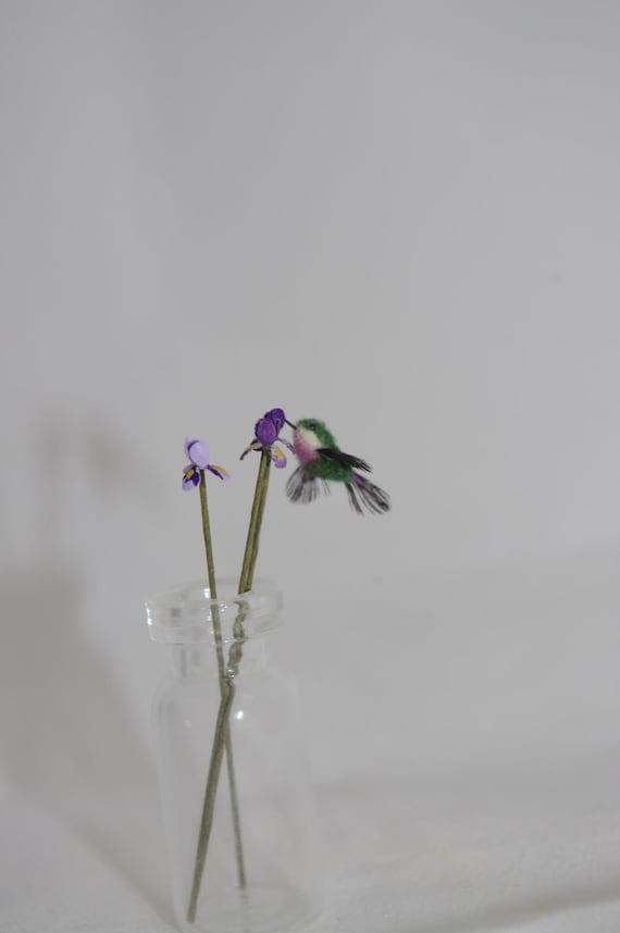 Authentic Feathered Purple Throated  Hummingbird OOAK