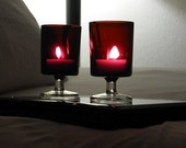 Romantic Ruby Red Glasses or Candle Holders (4 in this listing)