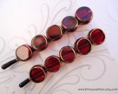 Beaded hair clips - Red coin window TREASURY ITEM