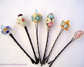 Lampwork Beaded bobby pins - Wire wrapped lampwork unique cute simple girl decorative embellish jeweled hair accessories TREASURY ITEM