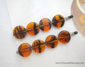 Glass Beaded bobby pins - Amber tortoise decorative hair accessories TREASURY ITEM