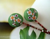 Fabric bobby pins - Japanese cherry blossom white yellow green flowers decorative hair accessories TREASURY ITEM
