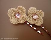 Crochet hair pins - Cream crochet flowers TREASURY ITEM