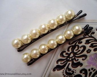 Bridal Pearls hair pins - Ivory pearls wedding traditional custom sophisticated decorative simple minimalist hair accessories TREASURY ITEM
