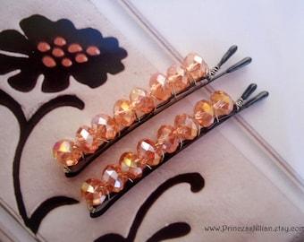 Prom Crystals Beaded bobby pins - Light peach aurora borealis crystals decorative hair accessories TREASURY item