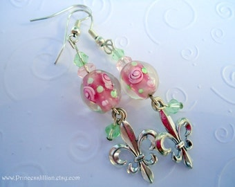 Beaded Earrings - Pink Passion - Lampwork beads with pink rose accent and fleur de lis charm long dangle jewelry
