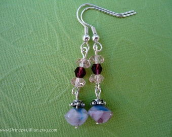 Beaded Earrings - Simply dainty - Light purple nugget beads with pink and garnet crystals jewelry TREASURY ITEM