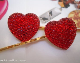 Cabochon hair grips - Sparkle Crystal red pink hearts sparkly decorative embellish gold hair decor accessories TREASURY ITEM