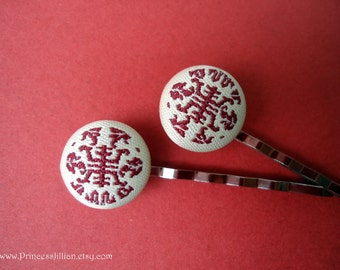 Fabric bobby pins - Chinese longevity symbol marsala red embellish hair accessories TREASURY ITEM