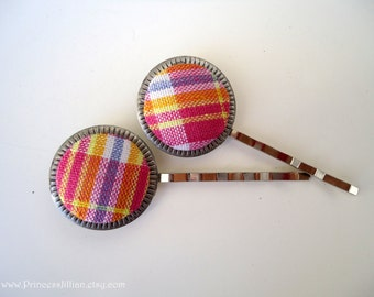 Fabric hair slides - Easter Pastel gingham plaid simple girl fun stripes checkered embellish decorative hair accessories TREASURY ITEM
