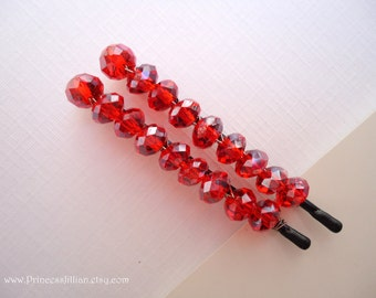 Crystals Beaded hair slides - Padparadscha aurora borealis embellish hair accessories TREASURY ITEM