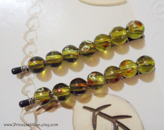 Beaded bobby pins - Olive branch forest true green decorative embellish glass girl fun unique round chic hair accessories TREASURY ITEM