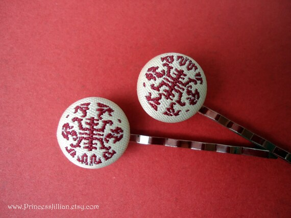 Fabric bobby pins - Chinese longevity symbol marsala red embellish decorative hair accessories TREASURY ITEM