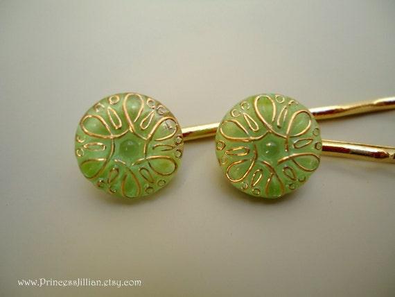 Bridal Cabochon hair clips - Vintage art nouveau green and gold TREASURY ITEM