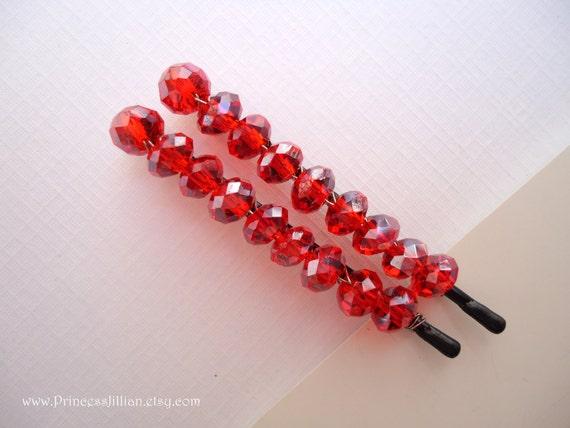 Crystals Beaded hair slides - Padparadscha aurora borealis embellish decorative  modern fun hair accessories TREASURY ITEM