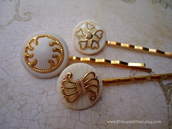SALE White gold trio set 1 TREASURY ITEM - vintage button bobby pins