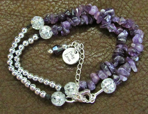 Lovely Wrapped Amethyst Gemstone Beaded Bracelet - Designs by Pinky Loco