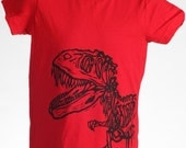 Ready To Ship!!!! Dinosaur on Red American Apparel T Shirt
