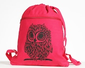 Owl on Poppy Red Canvas Cinch Sack