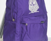 Owl on American Apparel Backpack Amethyst/Silver