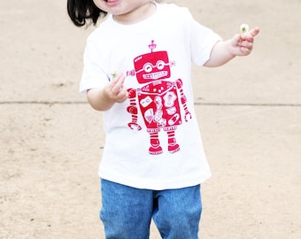 Robot on White American Apparel T Shirt