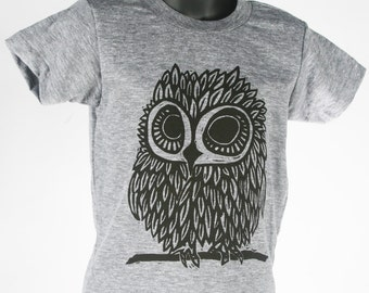 Owl on Athletic GreyTri Blend Children's American Apparel T Shirt 3-6m, 6-12m, 12-18m, 18-24m, 2t, 4t, 6t, 8y, 10y, 12y