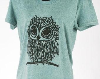 Owl on Tri-Lemon Tri Blend Women's American Apparel T Shirt
