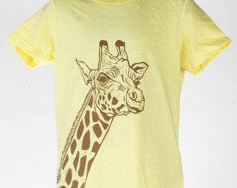 ON SALE Giraffe on Lemon Children's American Apparel T Shirt 2t, 4t, 6t, 8y, 10y, 12y Ready To Ship!!!!
