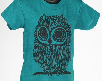 Owl on Evergreen Tri Blend Children's American Apparel T Shirt