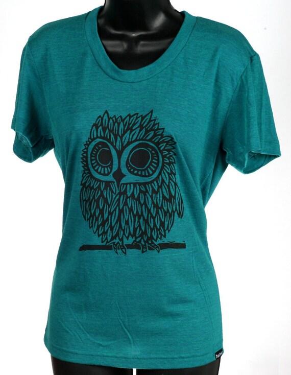Owl on EvergreenTri Blend Women's American Apparel T Shirt