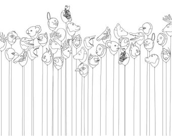 Balloons. Art print, nursery illustration, kids wall art, limited edition A3 print, 3 for 2 offer.