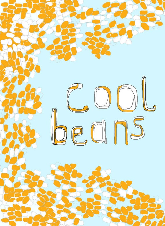 Cool Beans. Kitchen food cooking Art print, nursery illustration, kids wall art, limited edition A3 print, 3 for 2 offer, Affordable art.