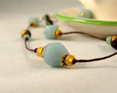 Amazonite and Tigereye Necklace with gold teal and brown