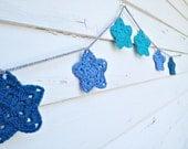 Star Bunting - Crochet Garland - Blue