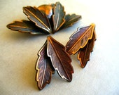 Vintage Brooch and Earrings Set. Copper Bell Leaf. Matching Mid Century Pin and Clip Ons.