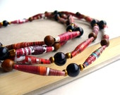 Reserved --- Handmade Paper Bead Necklace. Deep Berry Red. Extra Long Rope Style.