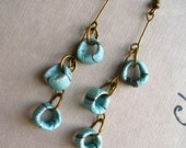 Handmade Paper Bead Earrings. Urban Chic. Blue Dangly Circles. Upcycled/Recycled Ephemera.