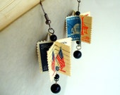 Handmade Postage Stamp Earrings - Red White and Blue American History Buff